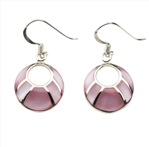 Pink Mother of Pearl & 925 Sterling Silver Earrings