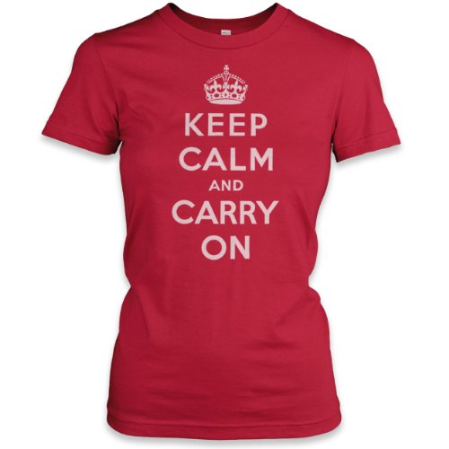 Keep Calm and Carry On (White) Ladies Fne Jersey T-Shirt, Red, L