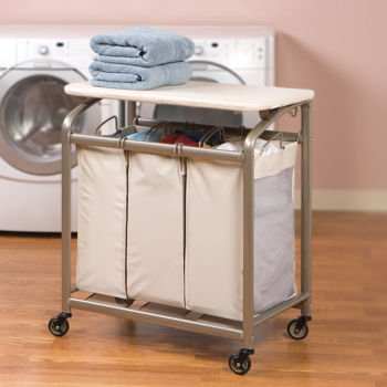 Seville Classics® 3-Bag Laundry Sorter w/Folding Table, Heavy Duty, Large Capacity Cart