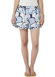 Chumbak Women's Shorts (CBSW027 M_Blue_M)
