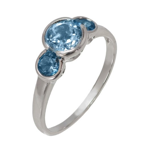 Sterling Silver London Blue Topaz and Sky Blue Topaz Three Stone Ring, Size 6