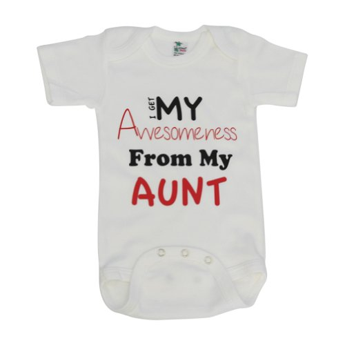 Kiddieco Baby Awesome Aunt White Onesie 0-3 Months Red Print
