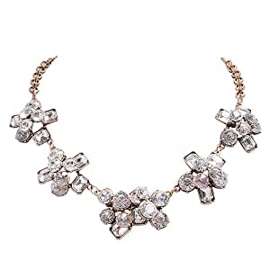 Jane Stone Vintage Flower Necklace Classical Style Gold Color Chain Crystal Necklace