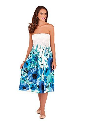 Cotton Summer Dress, Blue, Small (UK 8-10