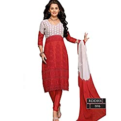 Rozdeal Women Chiffon Embroidered Dress Material 3/4 Sleeve Red Anarkali Suit