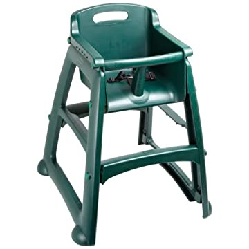 Rubbermaid Commercial FG781408 Dark Green Sturdy Chair Youth Seat without Wheels, 23.5 Length, 23.5 Width, 29.75 Height