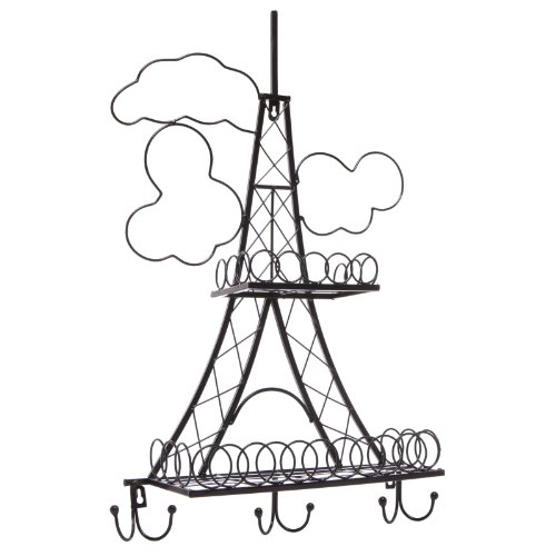 Decorative Stylish Black Metal Eiffel Tower Design Wall Mounted Rack front-1012354