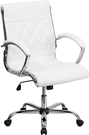 Mid-Back Designer White Leather Executive Swivel Office Chair