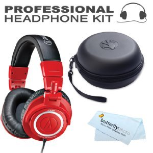 Audio-Technica ATH-M50RD Limited-Edition Red Professional Studio Monitor Headphones ( earphone ) with Coiled Cable BONUS Slappa SL-HP-01 headphones ( earphone ) Case [parallel import goods]