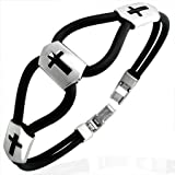 New Black Rubber Bracelet with Stainless Steel Cross Design, Length 20cms.