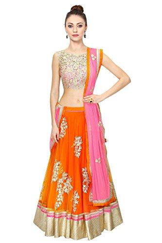 Fashion-Dream-womens-Orange-Net-Semi-Stitched-Embroidery-Lehenga-Choli