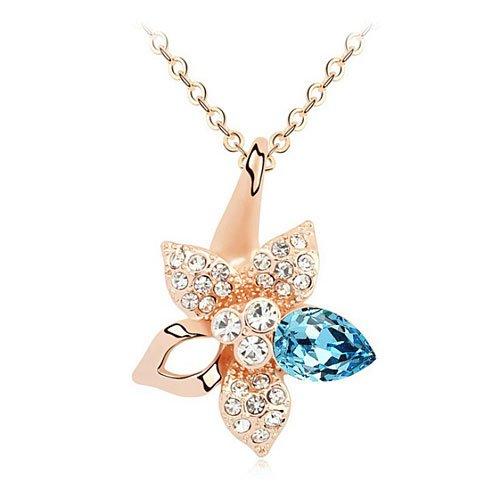 Mqueen Elements Aquamarine White Daisy Flower Pendant Necklace front-322316