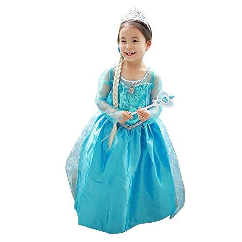 Loel® Princess Inspired Girls Elsa Frozen Snow Queen Party Costume Dress (3-4 years)