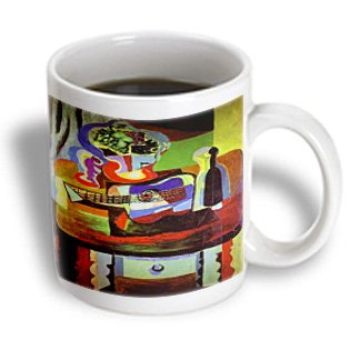 3Drose Picasso Painting Bowl Of Fruit N Guitar Mug, 11-Ounce