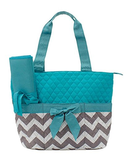 Handbag Inc Quilted Chevron Stripe Diaper Bag Baby Changing Pad Cosmetic Bag Aqua Blue