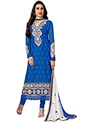 Winza Party Wear Blue Coloured Cotton Embroidered Salwar Kameez