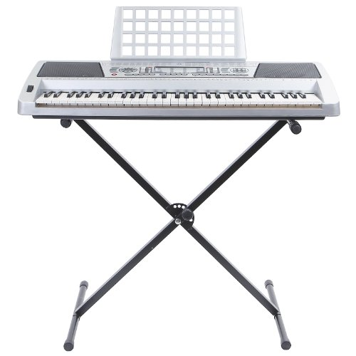 Hamzer 61 Key Electric Music Keyboard Piano With Stand, Touch Sensitive Keys, & Midi Output - Silver