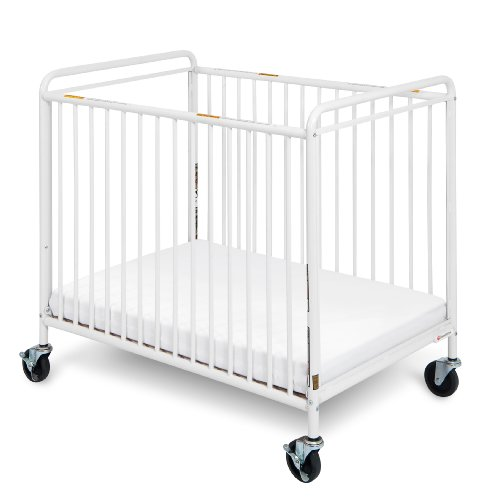 "Foundations Worldwide Chelsea Euro Clear Choice Mini Non-Folding Crib with 4"" Casters, White - 1"