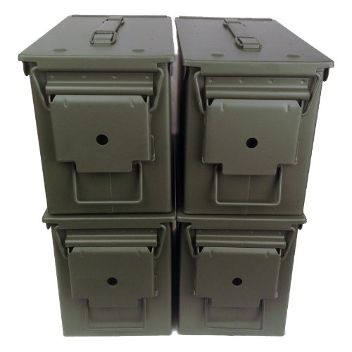 4-pack Mil Spec 50 Cal M2A1 Empty Ammo Cans New, Unstenciled (Ammo Cans Military compare prices)