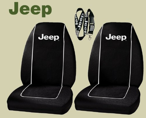 Jeep Logo Front Bucket Seat Covers - One Pair & Jeep Lanyard Keychain Holder (Yj Bucket Seats compare prices)