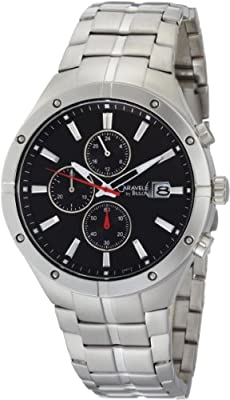 Caravelle by Bulova Men's 43B117 Stainless Steel and Black Dial Bracelet Watch