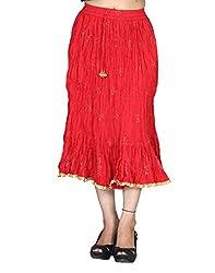 Chhipa Women Gold Print Knee Length Skirt Red - Length 34 Inches