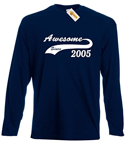 awesome-since-2005-long-sleeve-gift-t-shirt-for-11-year-old-boys-and-girls-by-loltops-12-13-years-de