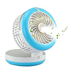 Tobeape Handheld Misting Fan, 3 in 1 Cooling Fan + Beauty Humidifier + Power Bank, Protable USB Rechargeable Mini Mist Cooler for Home and Office, Blue