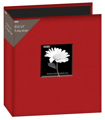 Pioneer Photo Albums 8 1/2 x 11-Inch 3-Ring Fabric Frame Cover Memory Binder, Apple Red