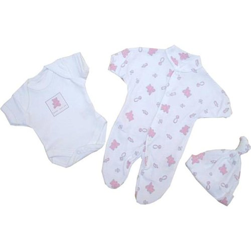 Premature Early Baby Clothes 3 Piece Set - Sleepsuit, Bodysuit & Hat 1.5lb,3.5lb,5.5lb,7.5lb Pink