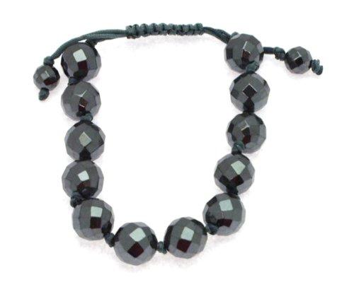 12mm Faceted Haematite Bangle Type Adjustable Bracelet