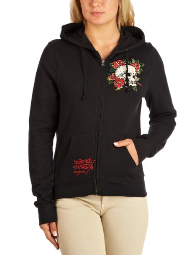 Ed Hardy Rhinestone Skull Rose Hoodie Zipped Womne's Top Black X-Small