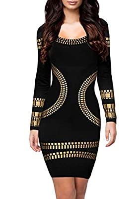 Gasion Women's Cut out Long Sleeves Kim Egypt Gold Foil Print Cocktail Dress