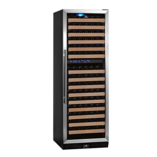 Find Discount KingsBottle 164 Bottle Dual Zone Wine Cooler, Glass Door with Stainless Trim