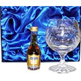 Personalised Martell Cognac Brandy Gift Set with Crystal Brandy Glass and Miniature Bottle of Martell Brandy Engraved with your own Message up to 30 Letters. Complete with Silk Lined Gift Box