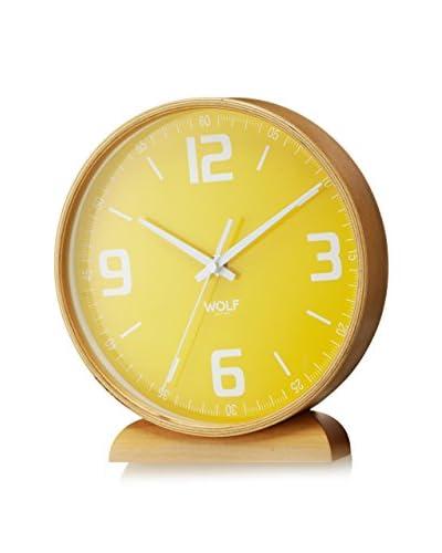 Wolf Designs 8 Round Mantel Clock, Yellow
