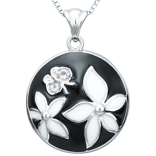 Sterling Silver Black and White Enamel and White Topaz Medallion with Flowers Pendant Necklace, 18