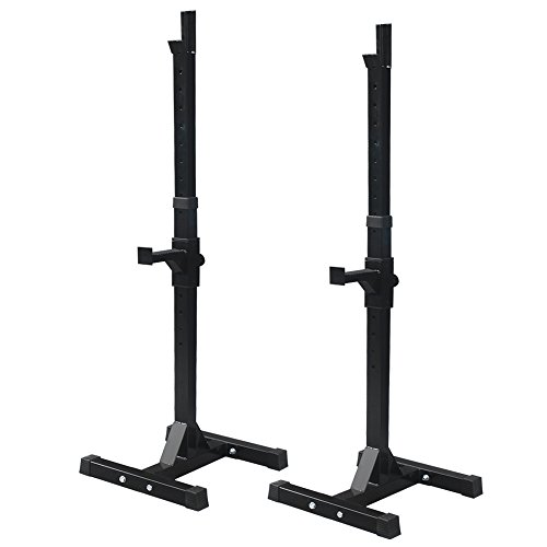 Zeny Set of 2 Adjustable Standard Solid Steel Squat Stands Gym Barbell Rack Free Bench Press Stands (#1) (Bench Press Safety Rack compare prices)