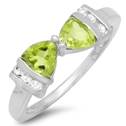 1ct tw Peridot and White Topaz Trillion Bow Tie Ring in Sterling Silver( Available Sizes 5-7) sz7
