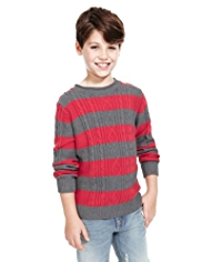 Pure Cotton Cable Knit Striped Jumper