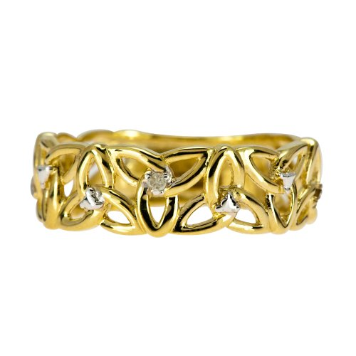 9ct Yellow Gold Ladies 5 Point Diamond Set Linked Celtic Trinity Knot Ring Size R