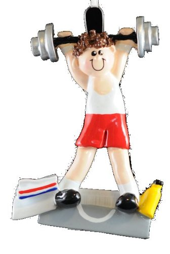 Brown Hair Weightlifter Christmas Ornament