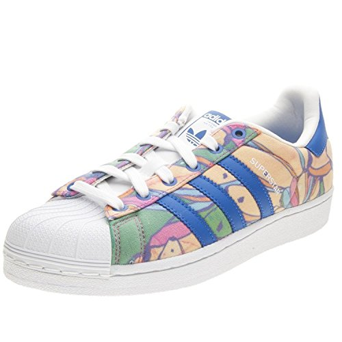 Adidas Originals Women's Superstar W Fashion Sneaker, Lab Blue/Lab Blue/White, 5 M US