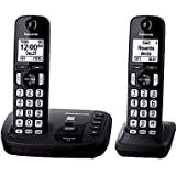 Panasonic KXTGD222B DECT 6.0 Expandable Digital Cordless Answering System 2-Handset