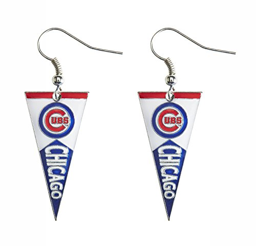 [MLB Chicago Cubs Pennant Earrings] (Cubs Fan Costume)