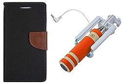 Novo Style Book Style Folio Wallet Case Samsung Galaxy S DousS7562 Black + Wired Selfie Stick No Battery Charging Premium Sturdy Design Best Pocket SizedSelfie Stick