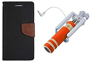 Novo Style Book Style Folio Wallet Case Sony Xperia Z2 Black + Wired Selfie Stick No Battery Charging Premium Sturdy Design Best Pocket Sized Selfie Stick