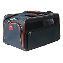 Bark-n-Bag Nylon Classic Carrier Collection Pet Carrier, Large, Navy/Saddle