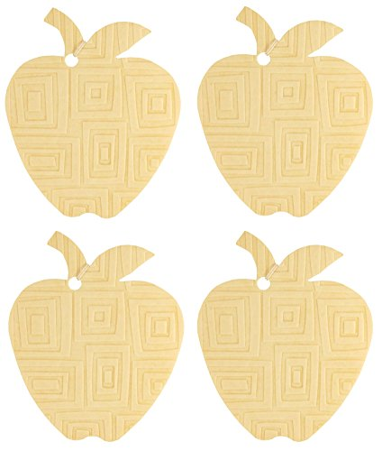 Set Of Four Apple Shaped Air Fresheners With Embossed Mod Square Pattern, Coffee