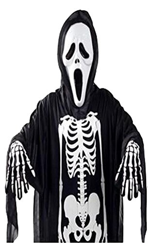 Dreamall Men's Halloween Creepy Ghost Mask and Black Costome